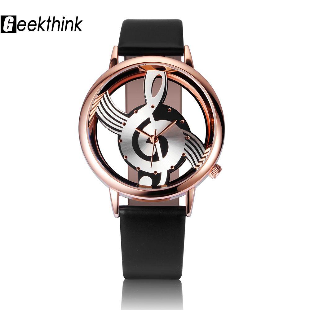 Geekthink único mujer señoras reloj de cuarzo analógico Hollow nota musical estilo reloj de cuero moda gfit casual reloj Mujer