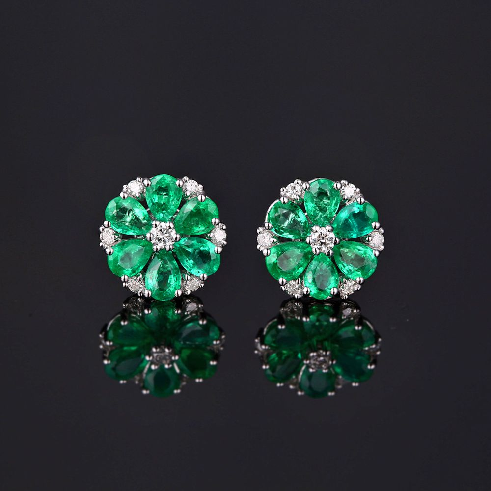 Caimao 14k Gold Natural 1.78ct Emerald & H SI Diamond Engagement Wedding Earring Studs for Women