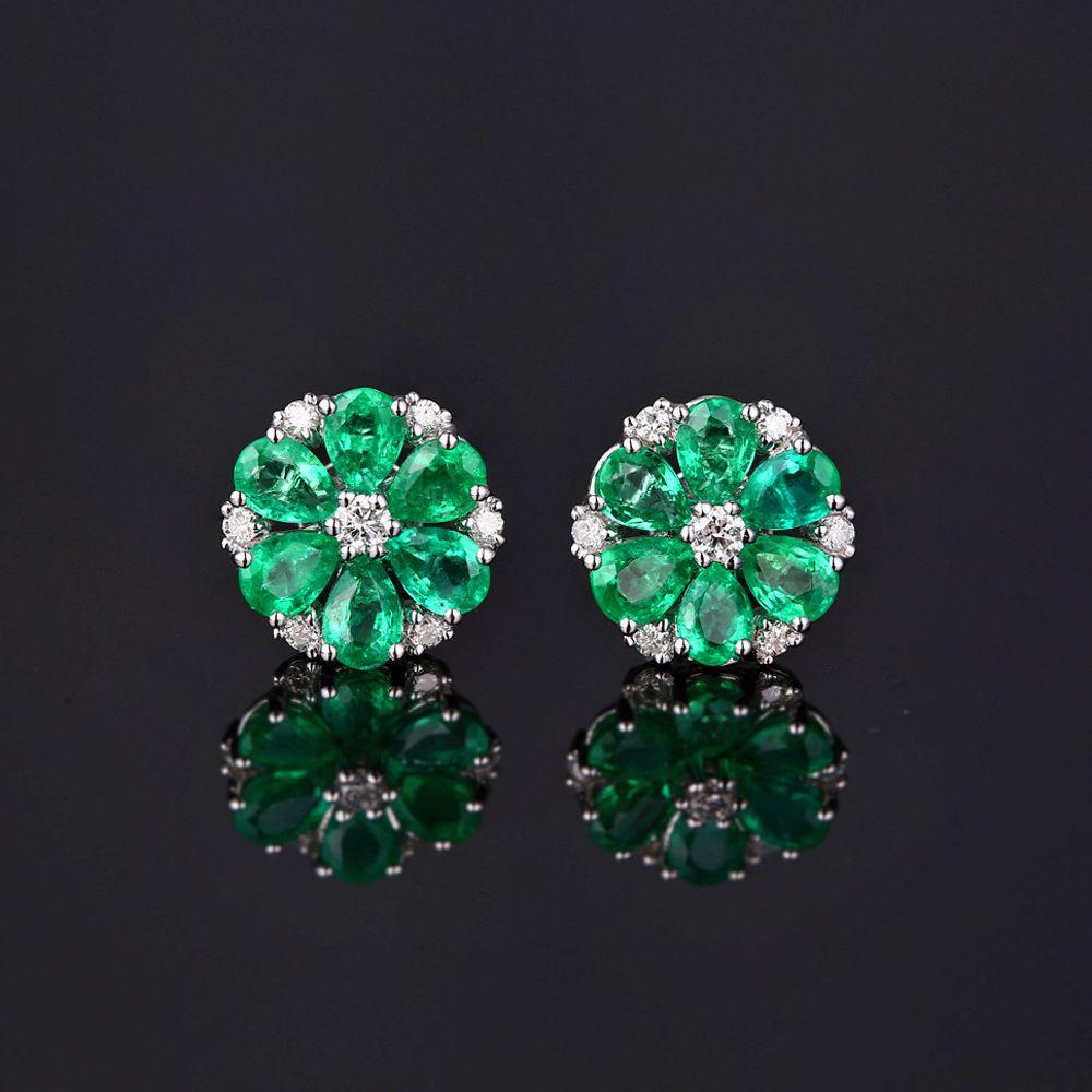 Caimao 14k Gold Natural 3.21ct Emerald & H SI Diamond Engagement Wedding Earring Studs for Women