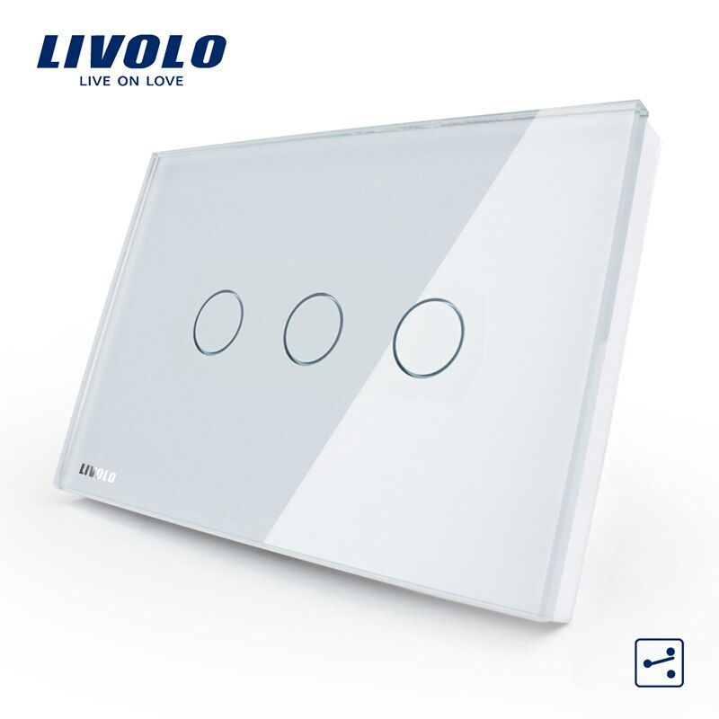 Livolo US/AU Standard 3-gang 2-way Touch Control Light Switch, AC 110-250V ,White Crystal Glass Panel,VL-C303S-81