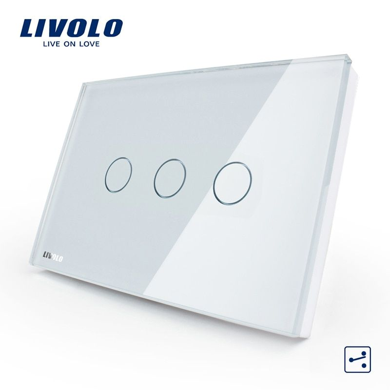 Livolo US/AU Standard 3-gang 2-way Touch Control Light <font><b>Switch</b></font>, AC 110-250V ,White Crystal Glass Panel,VL-C303S-81