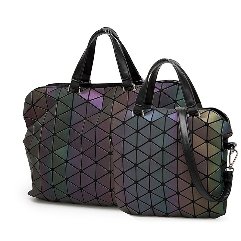 Luminous Briefcases Tote Geometry Holographic Quilted Shoulder Bags Folding Handbags VS shot Light it will reflect fluorescence