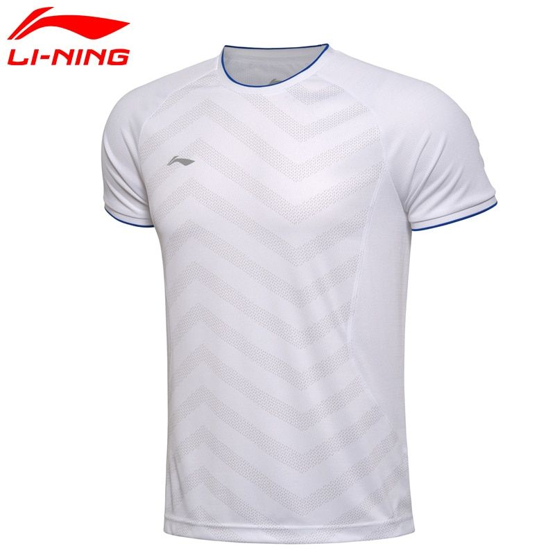 Li-Ning Mann der Quick Dry Atmungsaktiv Badminton Training T-shirt Li Ning Oansatz Kurzarm Tragbare Sport T hemd AAYM037
