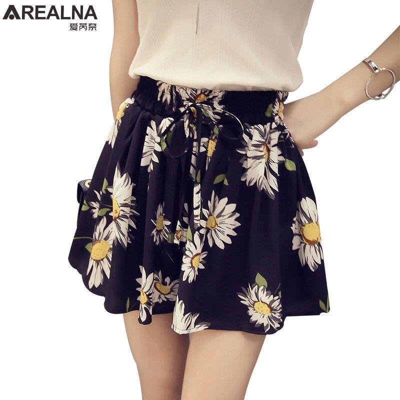AREALNA 2019 nouveau été taille haute Floral femmes jupe Shorts mode arc en mousseline de soie femme large jambe courte hotpantalon grande taille 4XL