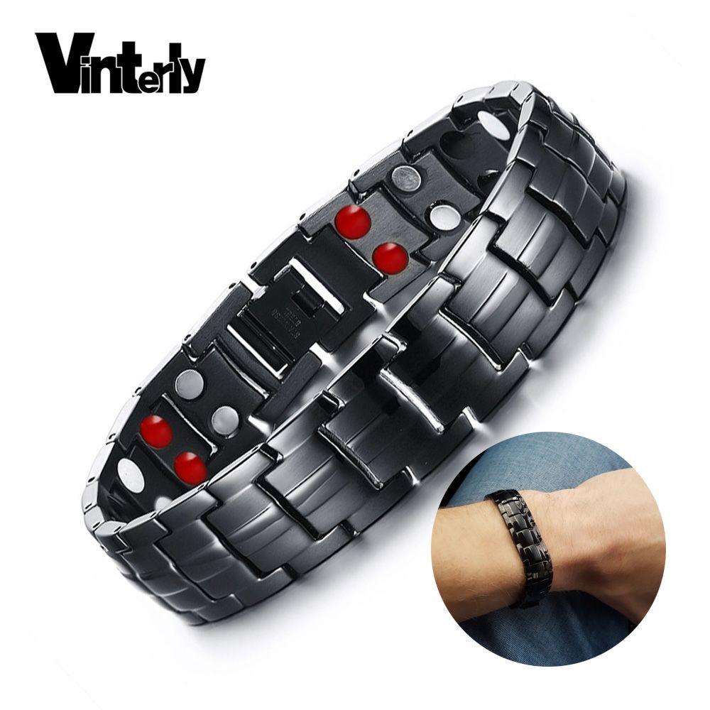 Vinterly Noir Bracelet Hommes Main Chaîne D'énergie Germanium de Santé Magnétique Bracelet Hommes En Acier Inoxydable Bracelets Pour Femmes Hommes