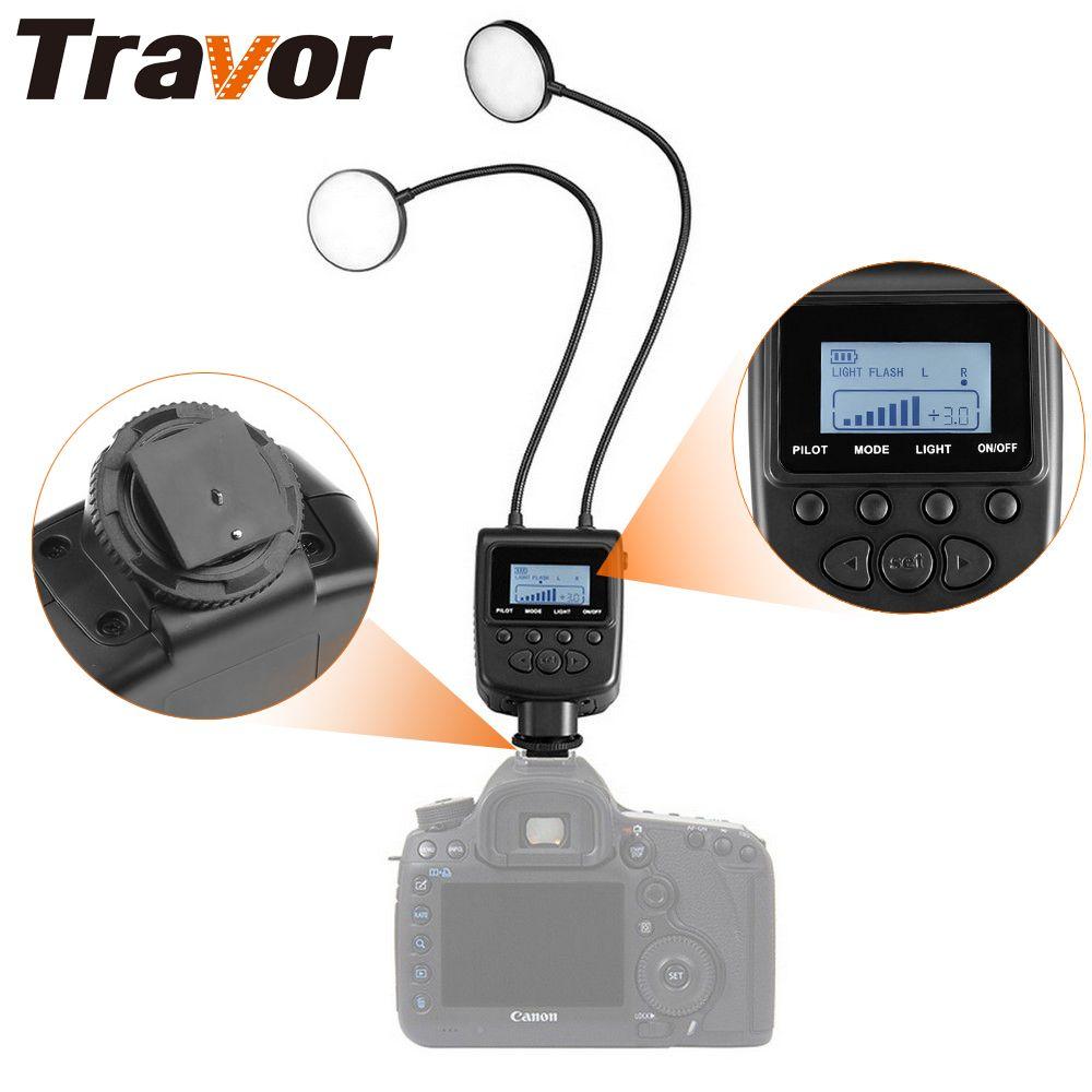 Travor Macro Ring Flash Light flexible réglable angle d'éclairage avec Grand écran lcd Pour Canon Nikon Close-up Photographie