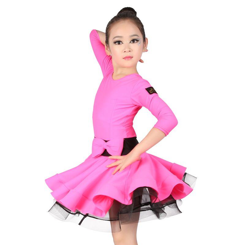 Profesional Spandex Muchachas del Vestido de Los Niños 3/4 de Manga Larga de Baile Latino de Baile de salón Desgaste Delgado
