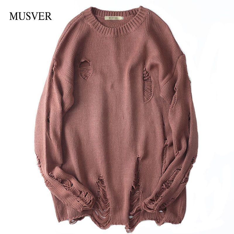 Musver корейский хлопковый свитер Для мужчин 2018 зимние высокие уличный стиль однотонные, брендовые хип-хоп негабаритных рваные Пуловеры для ж...