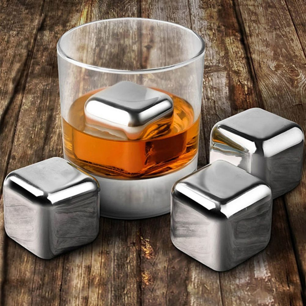 WITUSE Free Shipping! 4 6 8PCS Stainless Steel Whisky Stones Ice Cubes In Package Whiskey Cooler Rocks Ice stones GIFT With Box