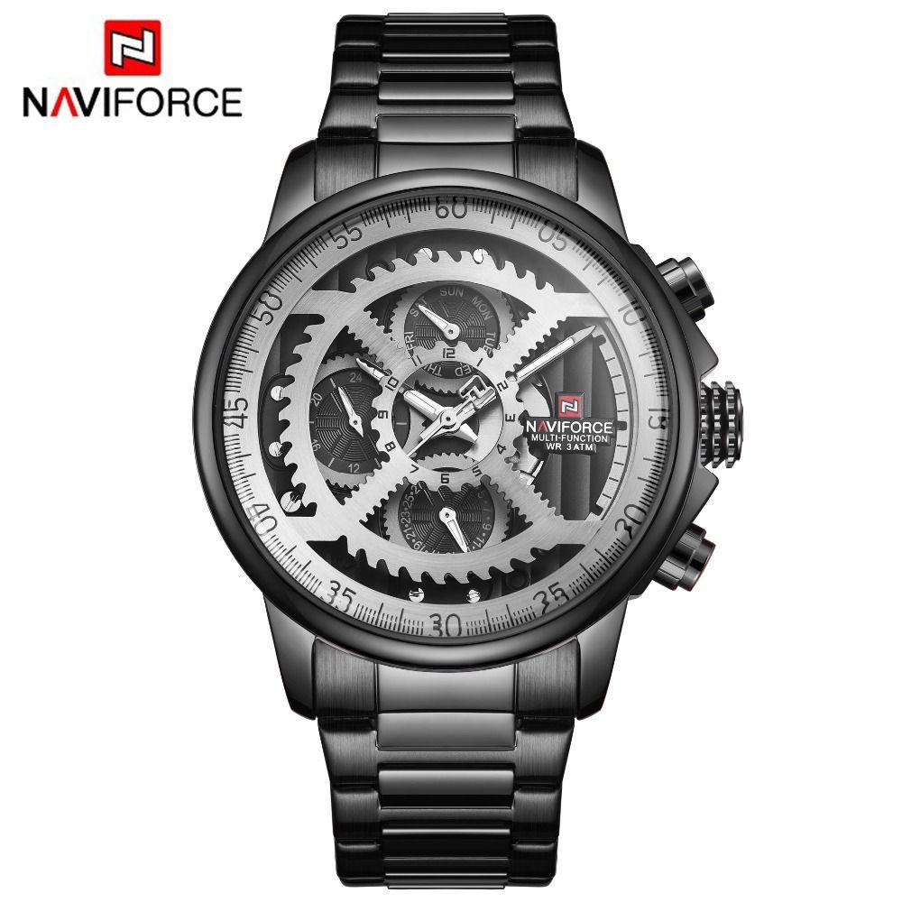 NAVIFORCE Herren Sport Uhren Männer Top Marke Luxus Voller Stahl Quarz Automatische Datum Uhr Männlichen Armee Militärische Wasserdichte Uhr