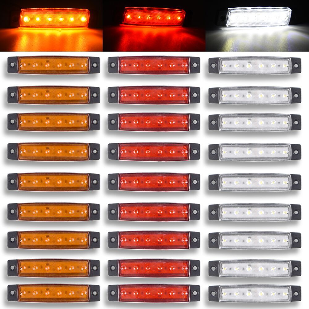 red Yellow white blue green12/24V 6 SMD LED Auto Car Bus Truck Lorry Side Marker Led Trailer Light Rear Side Lamp