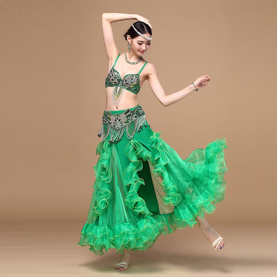 Nuevas llegadas rendimiento estilo oriental mujeres dancewear profesional 3 unids traje sujetador Falda larga Cuentas trajes de danza del vientre