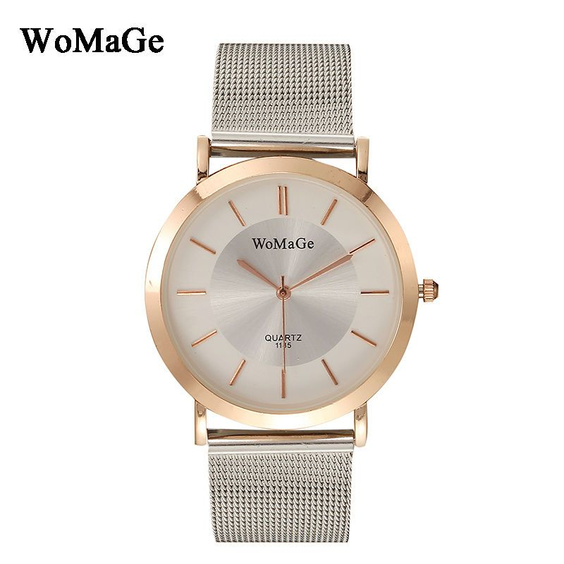 New Times reloj mujer Womage Brand Luxury Stainless Steel Mesh Strap Mesh Watches Quartz Fashion Women Watches relogio feminino