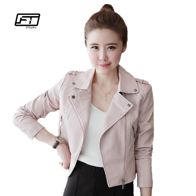 New Autumn Winter Women Leather Jackets Soft Pu Pink Leather Coats Short Design Slim Cute Faux Leather Motorcycle Outwear