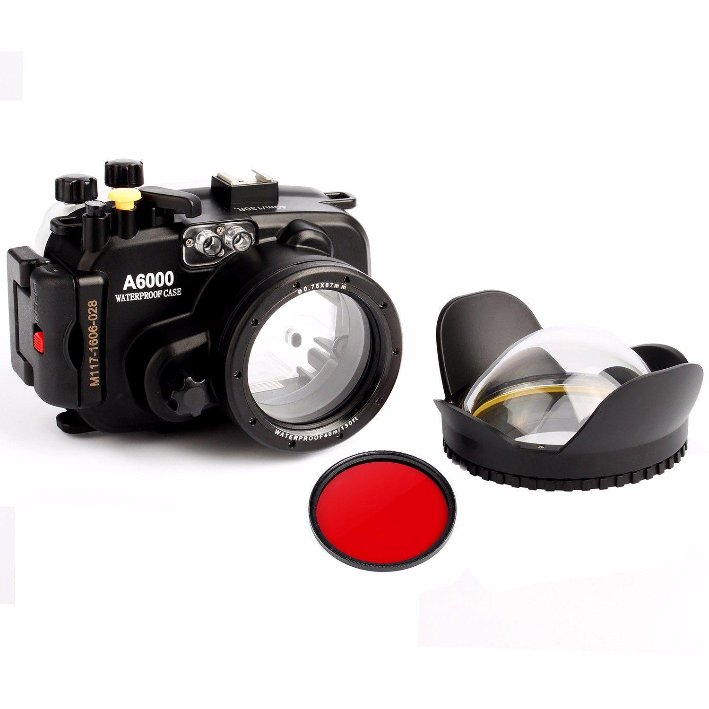 40 mt 130ft unterwasser wasserdichte Kamera Gehäuse case für sony A6000 (16-50mm objektiv) + 67mm fisheye dome port objektiv + 67mm rot filter