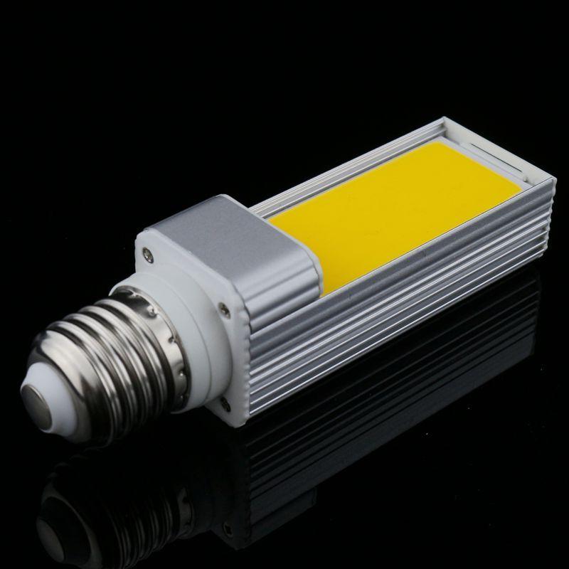 1 pcs/lot Horizontal Plug LP Lampe led Ampoule 10 W 12 W 15 W COB led E27 G24-4 G23 Maïs répéteur hdmi Blanc Chaud AC85V-265V Côté éclairage