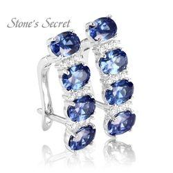 Stone's Secret Elegant Created Tanzanite 925 Silver Earrings Hot Sell Drop-shipping Fine Jewelry