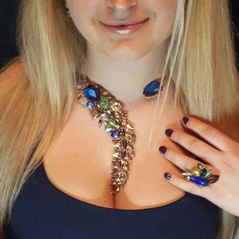 Mejor señora de Bohemia Cuentas de Cristal de Lujo Manguito Maxi Boda Joyería Declaración collar de Gargantilla Collar de Las Mujeres multicolores 3735
