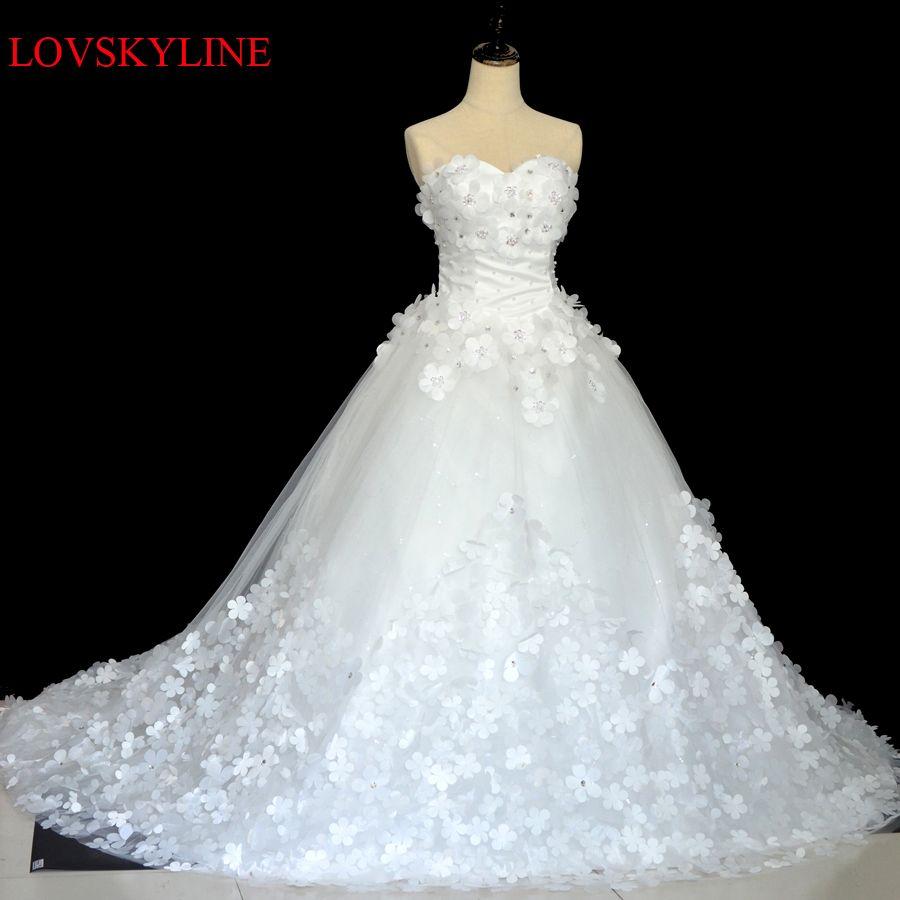 2017 Robe De Mariage Princess Luxury Appliques Beading sweetheart Royal train Wedding Dress Custom sizes Vestido De Noiva