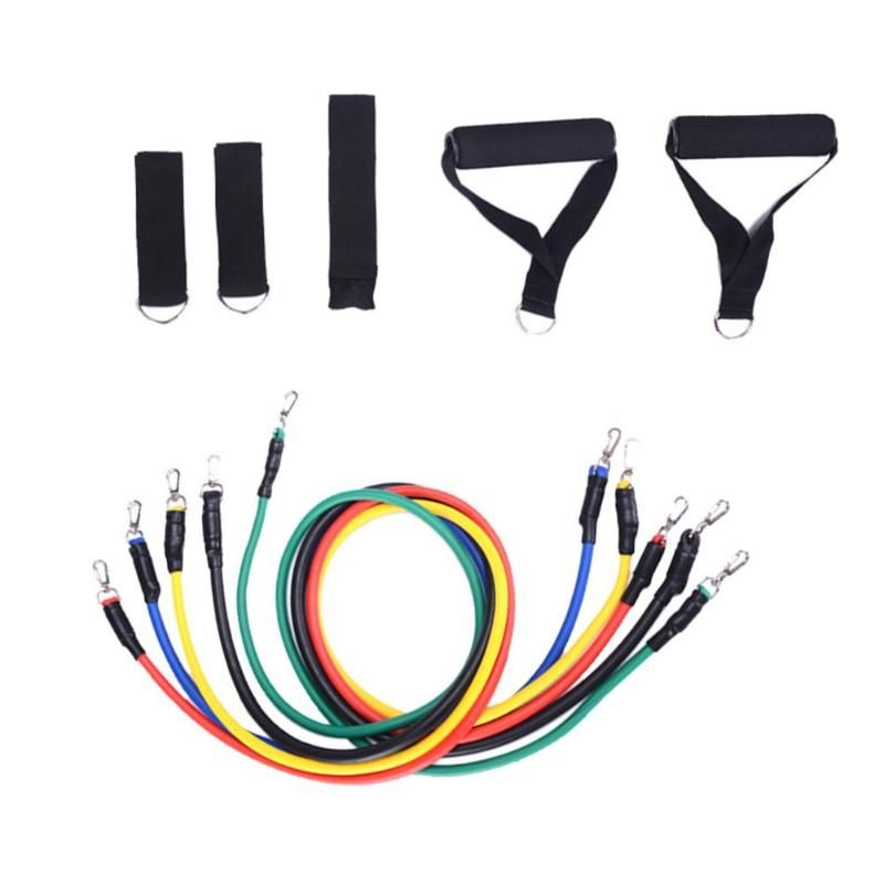 11pcs/set Pull Rope Crossfit Fitness Body Exercises Resistance Bands Latex Tubes Body Training Workout Yoga Hot Sale
