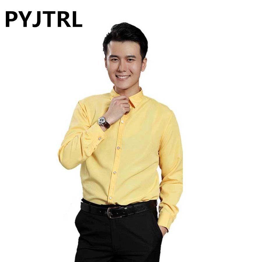 PYJTRL Men's Color Stage Show Long Sleeve Shirt Men Clothing Masculina Camisetas Brand-clothing Shirts