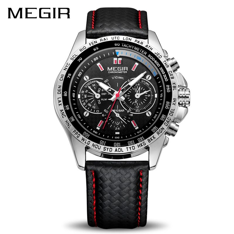 <font><b>MEGIR</b></font> Sport Mens Watches Top Brand Luxury Quartz Men Watch Fashion Casual Black PU Strap Clock Men Big Dial Erkek Saat 1010