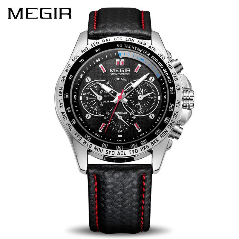 MEGIR Sport Mens Watches Top Brand Luxury Quartz Men Watch Fashion Casual Black PU Strap Clock Men Big Dial Erkek <font><b>Saat</b></font> 1010