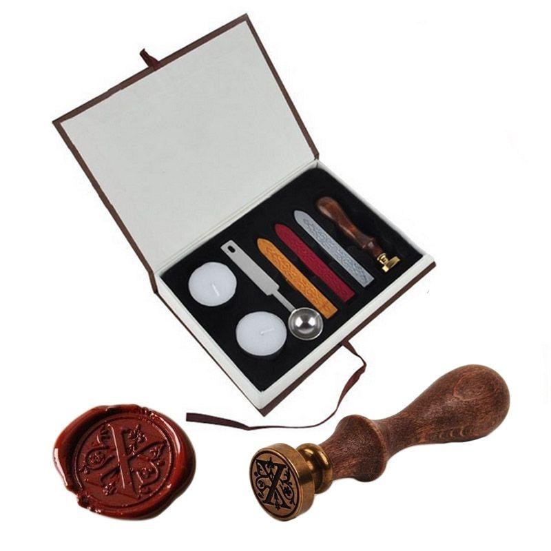 Classic Vintage Alphabet A-Z Optional Wax Badge Seal Stamp w/Wax Kit Set Letter Wax Seal Kit Set Handmade Hobby Tools Sets