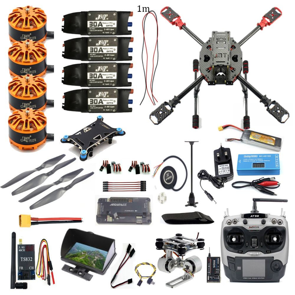 Full Kit FPV DIY 2.4GHz 4-Aixs RC Drone  APM2.8 Flight Controller M7N GPS J630 Carbon Fiber Frame Props with AT9S TX Quadcopter
