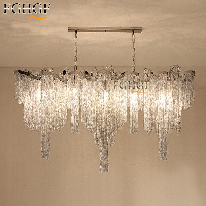 New Aluminum Chain Chandelier Light Fixture Vintage Empire Suspension Lamp French Chain Hanging Lustre Living room Restaurant