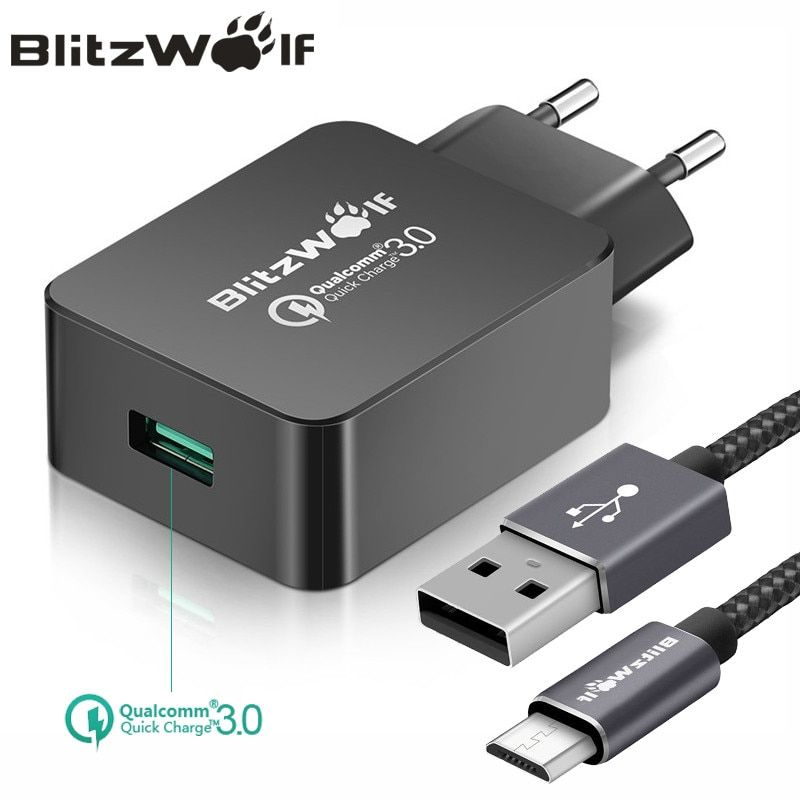 BlitzWolf QC3.0 USB Charger EU <font><b>Mobile</b></font> Phone Charger Adapter Wall Travel Charger With USB Cable For Xiaomi For Samsung For iPhone