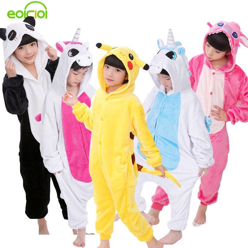 EOICIOI New Baby Boys Girls Pajamas Autumn Winter Children Flannel Animal funny animal Stitch panda Pajamas Kid Onesie Sleepwear