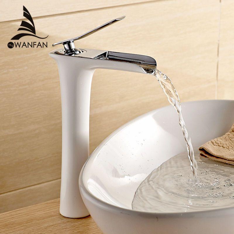 Смесители для умывальника современный белый Ванная комната кран Водопад смесители на одно отверстие холодной и горячей воды бассейна кран ...