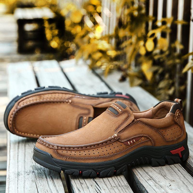 Haute qualité 2019 nouveaux hommes chaussures de sport confortables chaussures imperméables en cuir chaussures de loisir à la mode homme grande taille 38-48