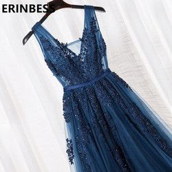 Robe De Festa V Neck Cap Manches Vintage Dentelle Appliques Perlée Bleu Marine de Demoiselle D'honneur Robes Femmes Formelle Parti Robes
