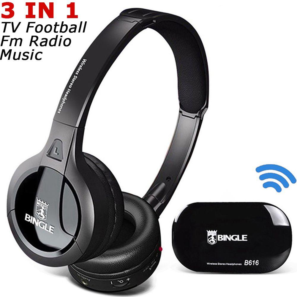 Bingle B616 Noise Cancellation FM Radio Silent Disco TV Cordless Wireless Headset Headphone Audifonos Fone De Ouvido Head Phone