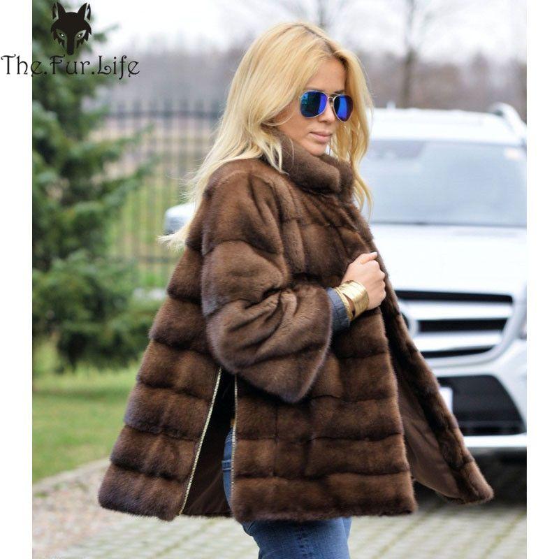 2018 New Style Full Pelt Real Mink Fur Coat For Women Warm Stand Collar Side Zipper Fur Jackets Sleeve Detachable Wholesale