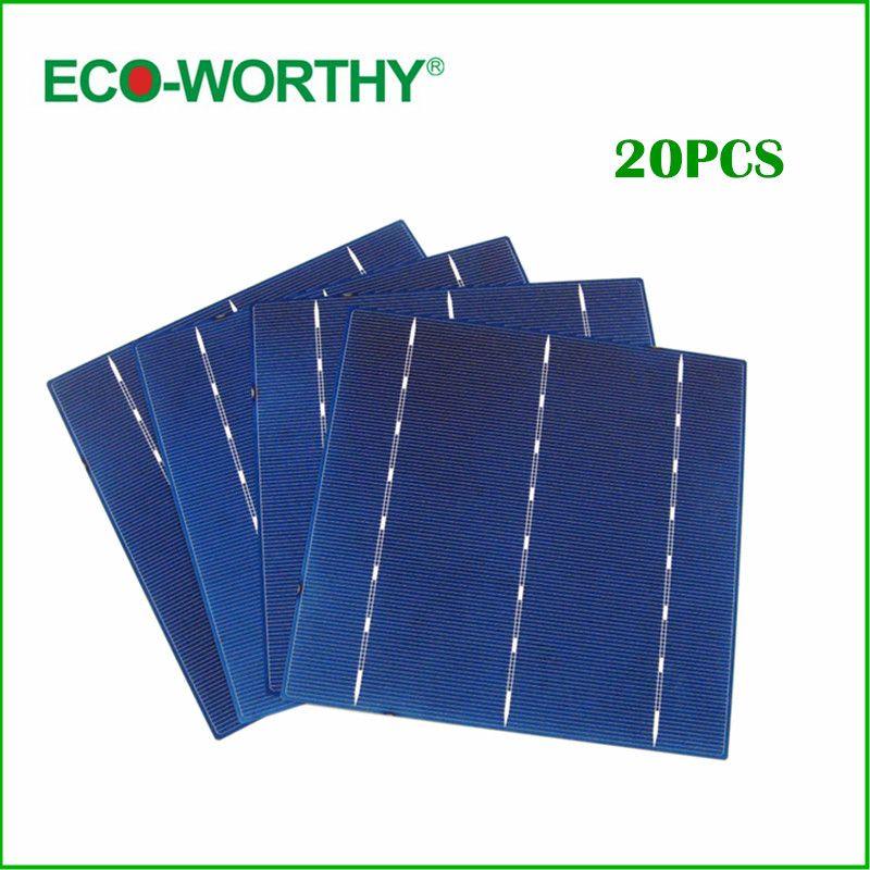 ECO-WORTHY 20pcs Efficiency Solar Cell 6x6 Polycrystalline Solar Cells For Diy 18v Mini Solar Panel Module 12v