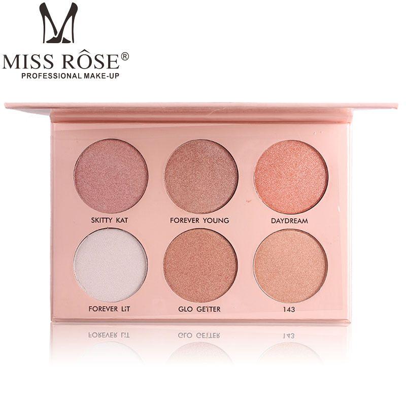 Mlle Rose Glow Kit Surligneur Palette 6 Couleurs Maquillage Pressée Contour Poudre Palette Shimmer Visage Enlumineurs Maquiagem