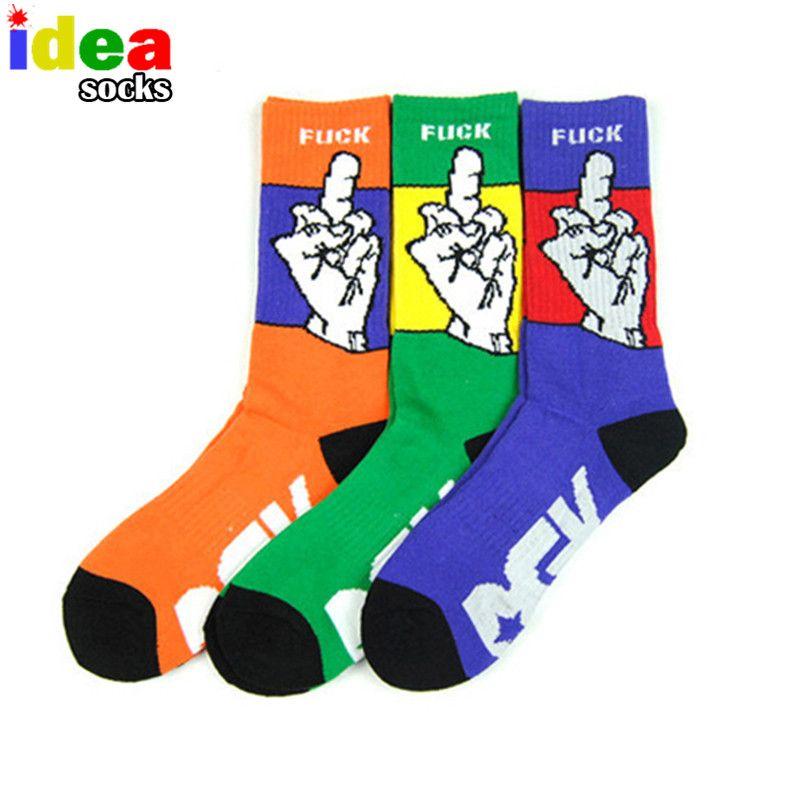 Harajuku chaussette Skateboard Korb Hip Hop Mittelfinger Baumwolle Lange Rohr Thermische Bewegung Compression Männer Socke