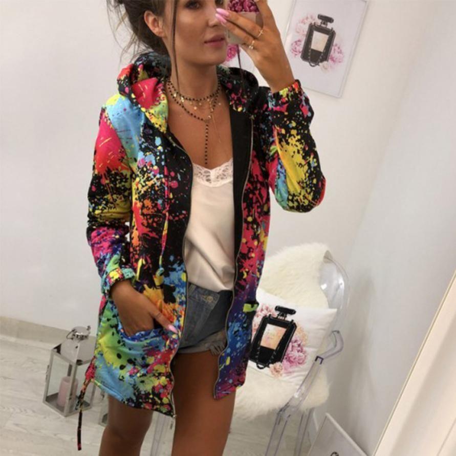 Outerwear & Coats Jackets Fashion Tie dyeing Print Outwear Sweatshirt Hooded Overcoat coats and jackets women 2018AUG16