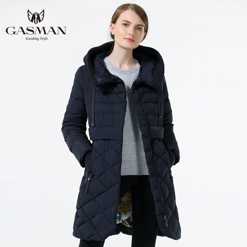 GASMAN 2018 Women's Hooded Warm Down Parka Female Overcoat Medium Length Slim Bio Down Thickening Down Jacket Brand Female Coat