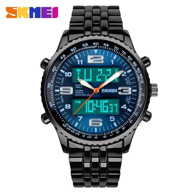 2017 New SKMEI Luxury Brand Men Military Watches Full Steel Men Sports Watches Digital LED Quartz Wristwatches relogio masculino