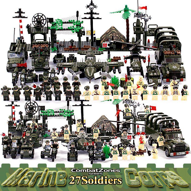 Éclairer les blocs de construction éducatifs militaires jouets pour enfants cadeaux armée voitures avions hélicoptère arme Compatible avec Legoe