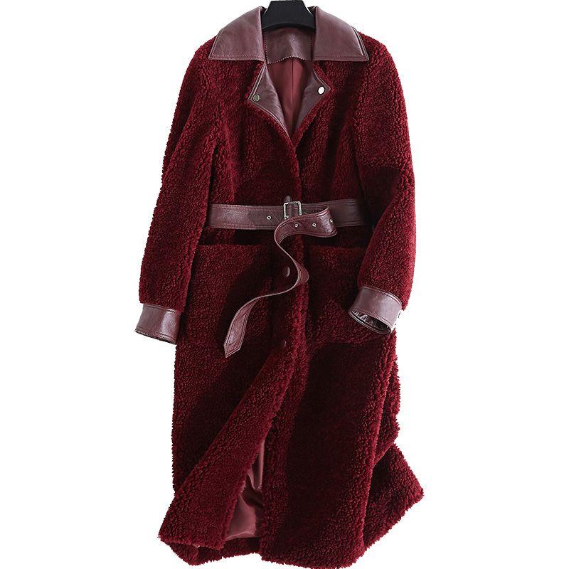 Real Fur Coat Wool Jacket Korean Long Coats Women Clothes 2018 Lambswool Winter Coat Women Sheep Shearing Fur Women Tops ZT364