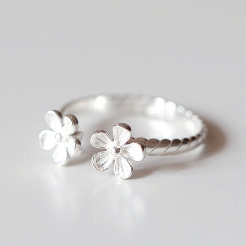 Fashion sterling-silver-jewelry Five petals opening adjusted ring silver 925 jewelry high quality rings for women