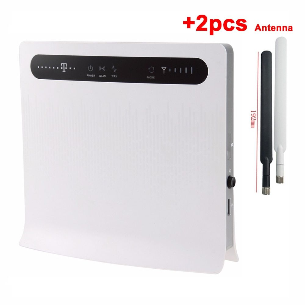 Unlocked Huawei B593 B593u-12 +<font><b>2pcs</b></font> Antenna 4G LTE 100Mbps CPE Router with Sim CardSlot 4G LTE WiFi Router with 4 Lan Port