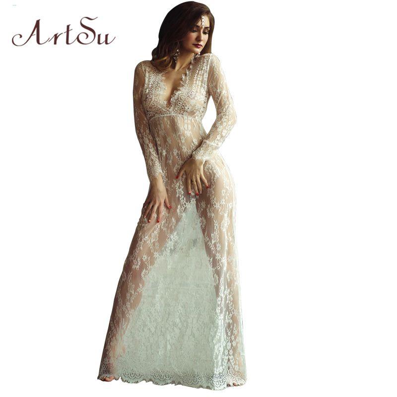 ArtSu femmes longueur au sol noir blanc dentelle robe ajuster taille Sexy voir à travers Floral Vestido livraison gratuite DR5046