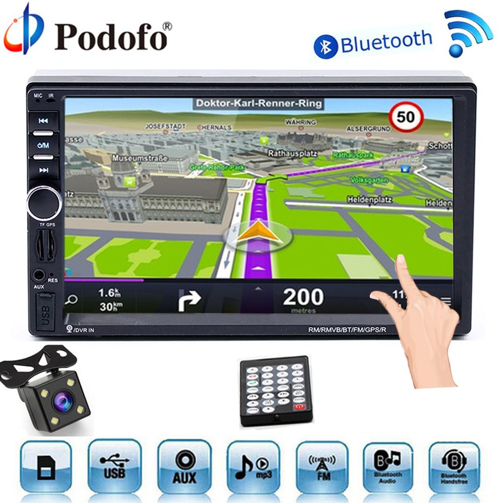 Podofo Autoradio Autoradio 2Din GPS Navigation Auto audio-Player Bluetooth Multimedia USB 2 din 7