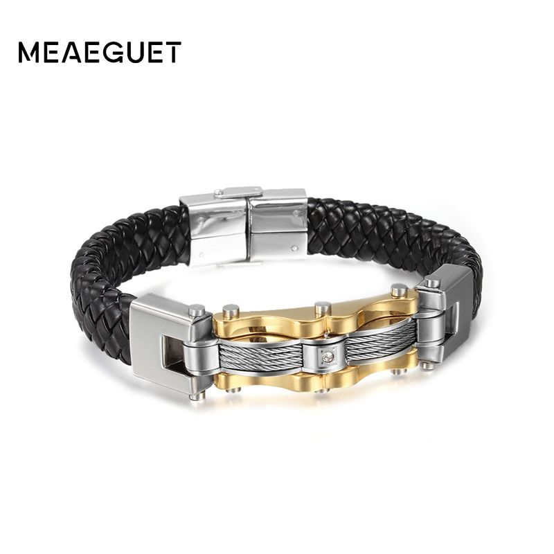 Meaeguet Gold-Color Stainless Steel Leather Bracelet With CZ Stone Male Vintage Accessories Wia Bracelet Jewelry